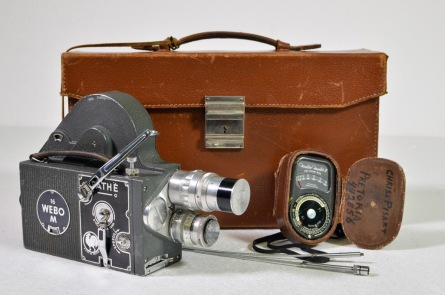 Pathe 16mm Webo camera with two prime lenses, light meter and leather transit case