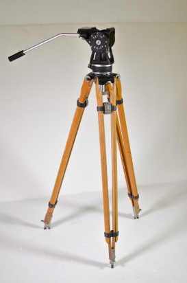 Miller 35mm drop through, Arri-type fluid head with wooden tripod