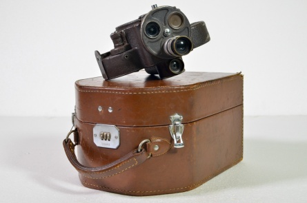 Paillard Bell & Howell 35mm wind-up camera in original leather case