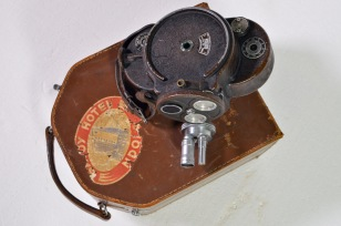 Paillard Bell & Howell 35mm wind-up camera in original leather case, with rangefinder lenses
