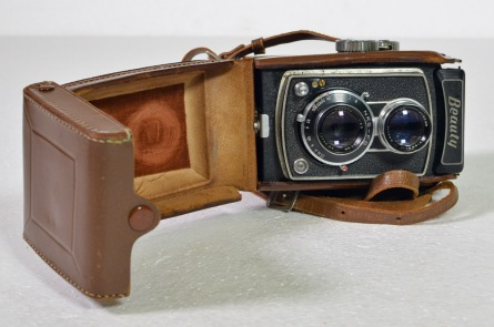 Beauty rack and stills camera with leather case